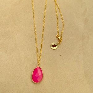 Jewelry - Fuschia Jade drop on gold necklace
